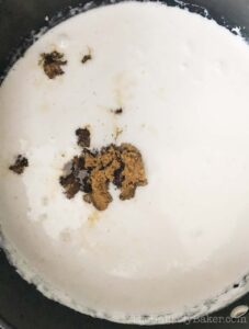 brown sugar dissolved into coconut milk