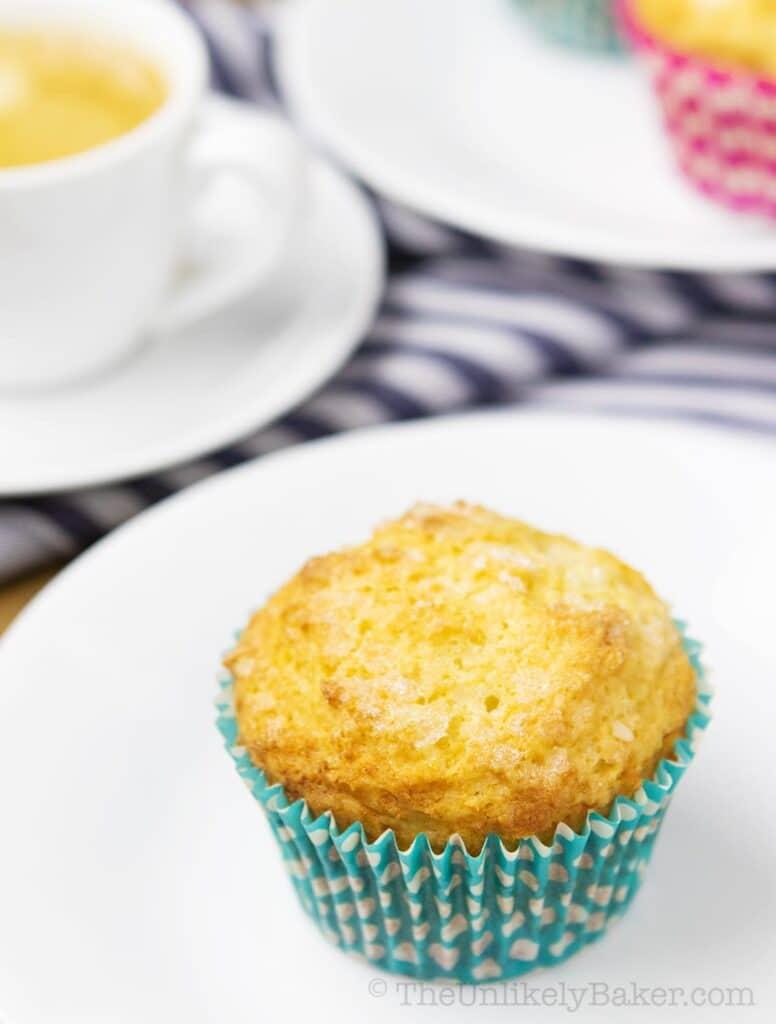 single lemon muffin on a plate