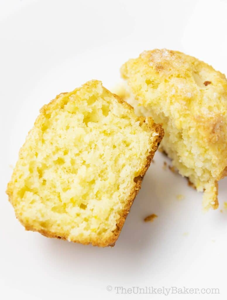 soft and fluffy interior of a lemon ricotta muffin