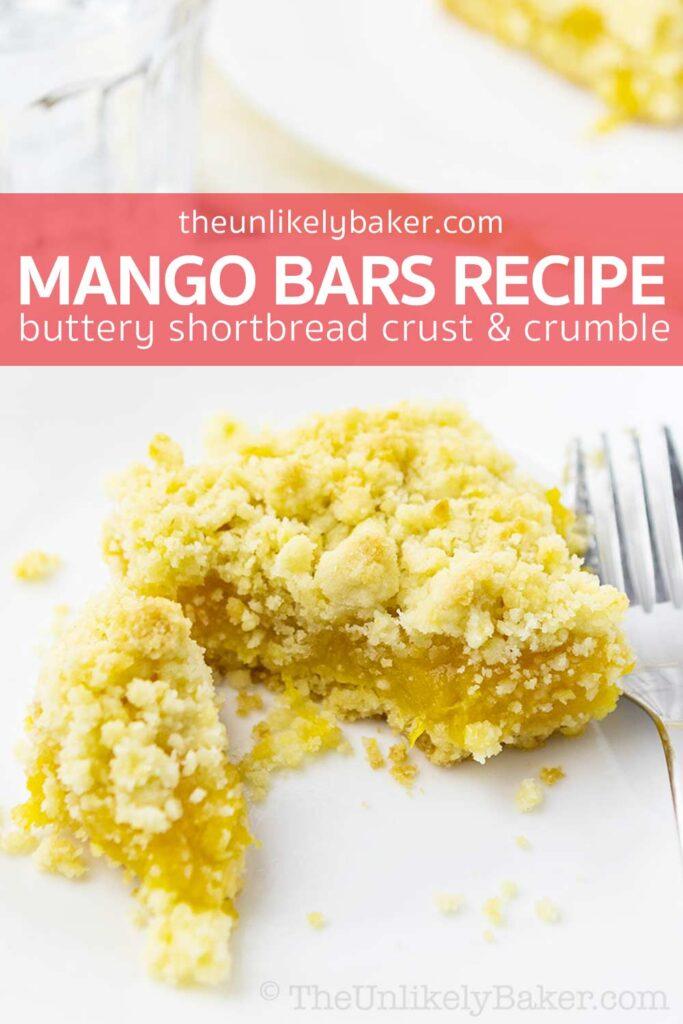 Mango Bars Recipe with Butter Shortbread Crust