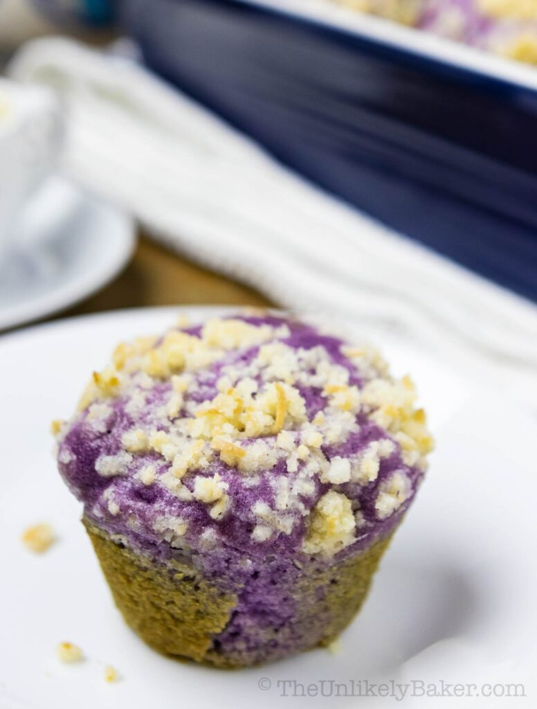 single ube muffin on a plate