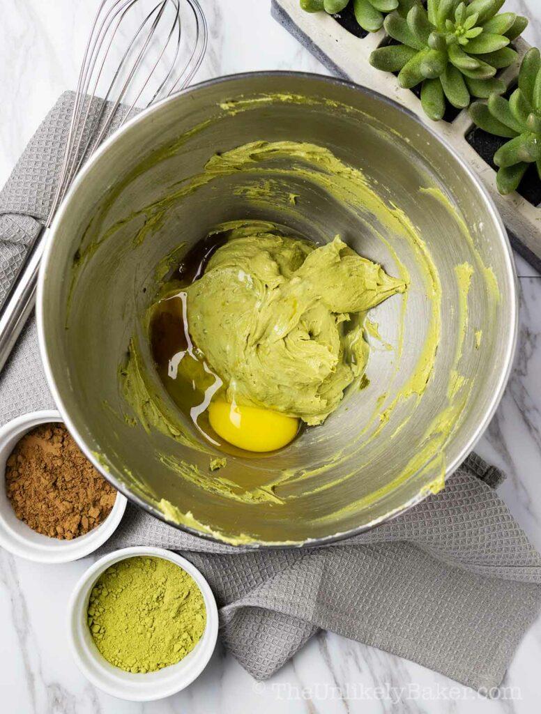 Matcha cream cheese mixture with egg