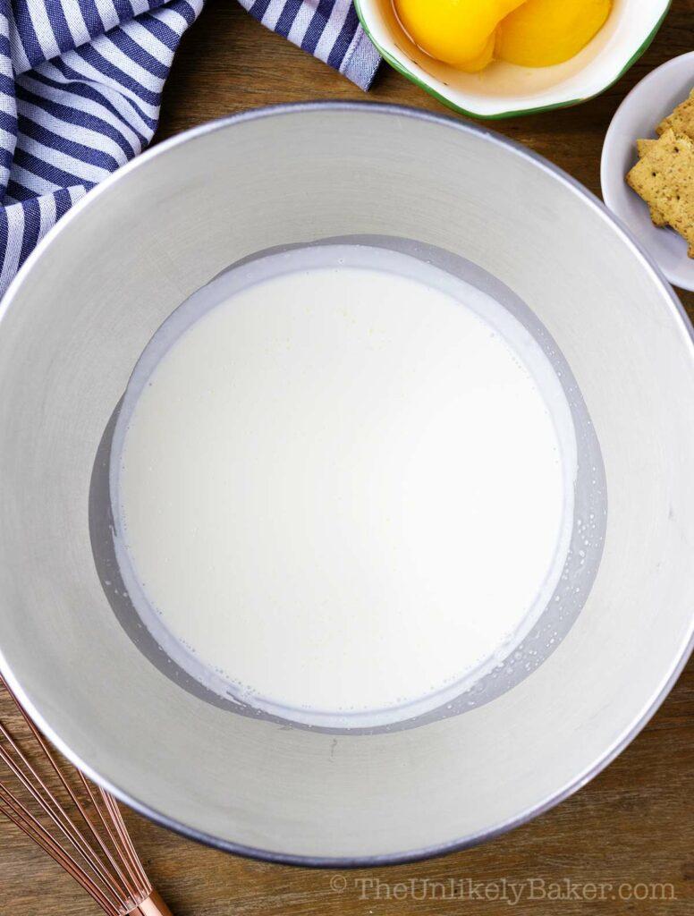 heavy cream in a bowl