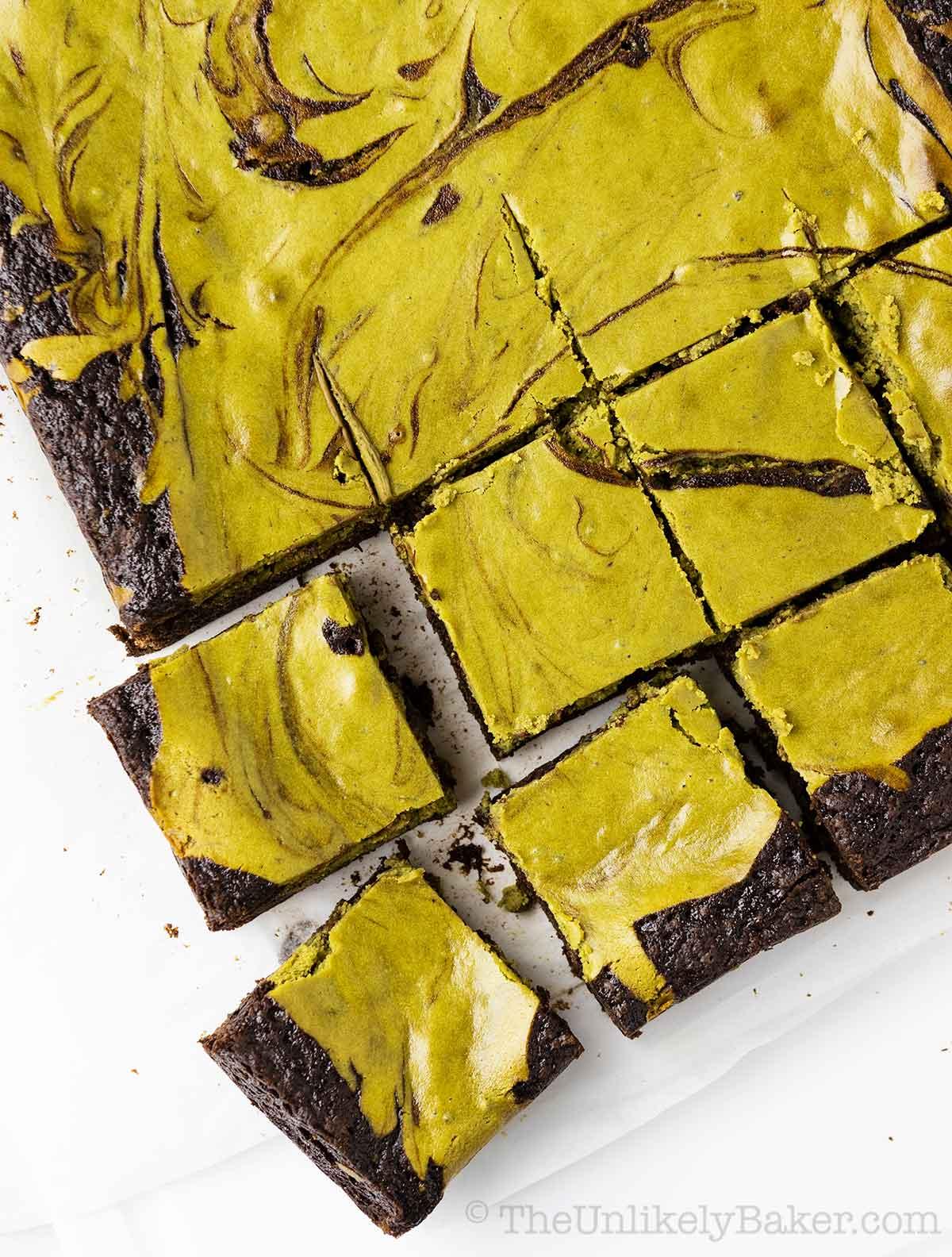 Freshly baked matcha cheesecake brownies