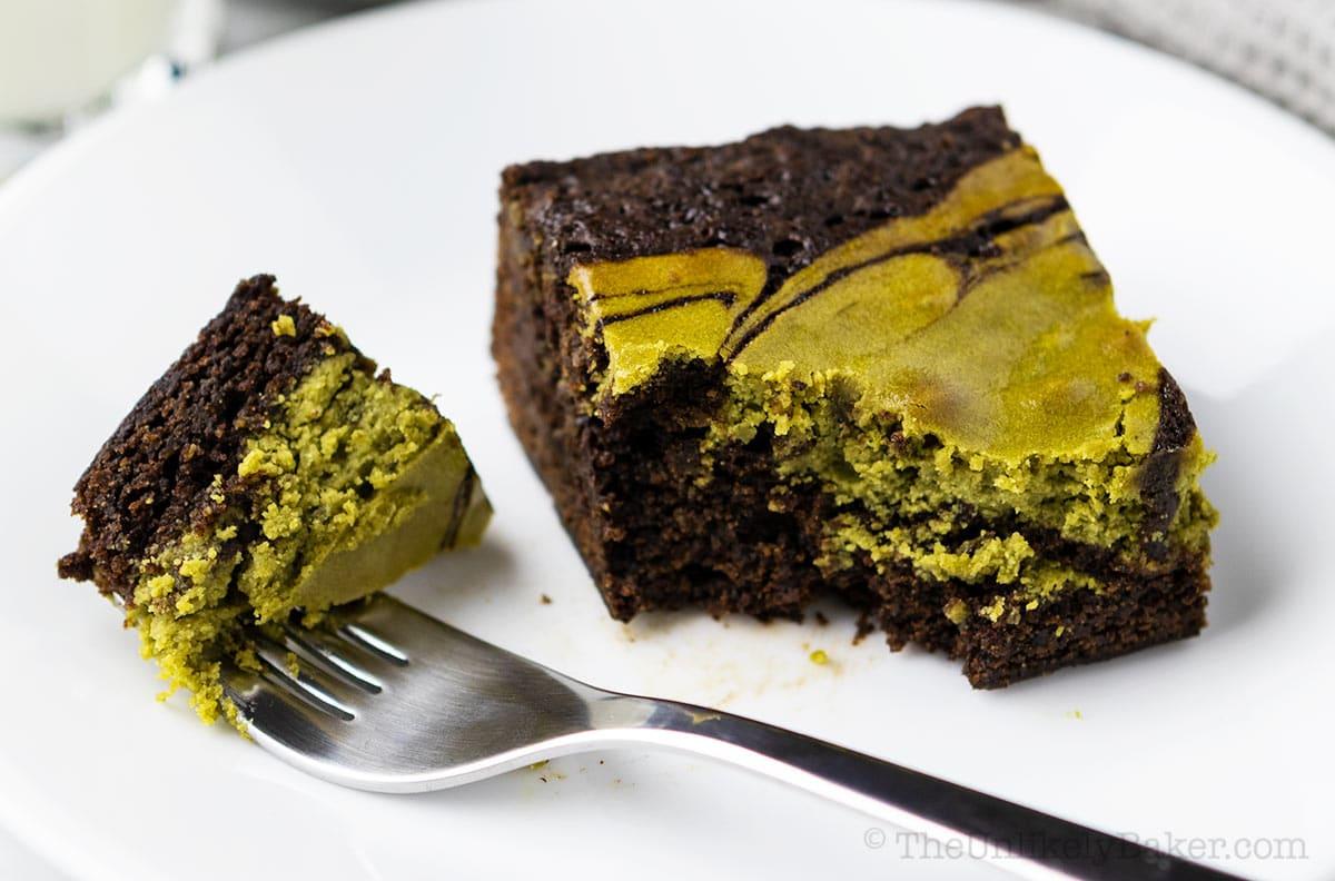 Slice of matcha brownie on a plate