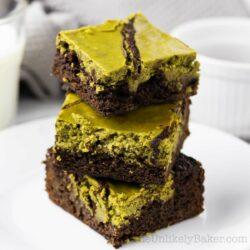 Stack of freshly baked matcha brownies