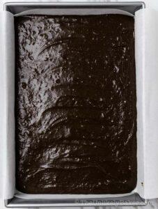 Brownie batter in baking pan