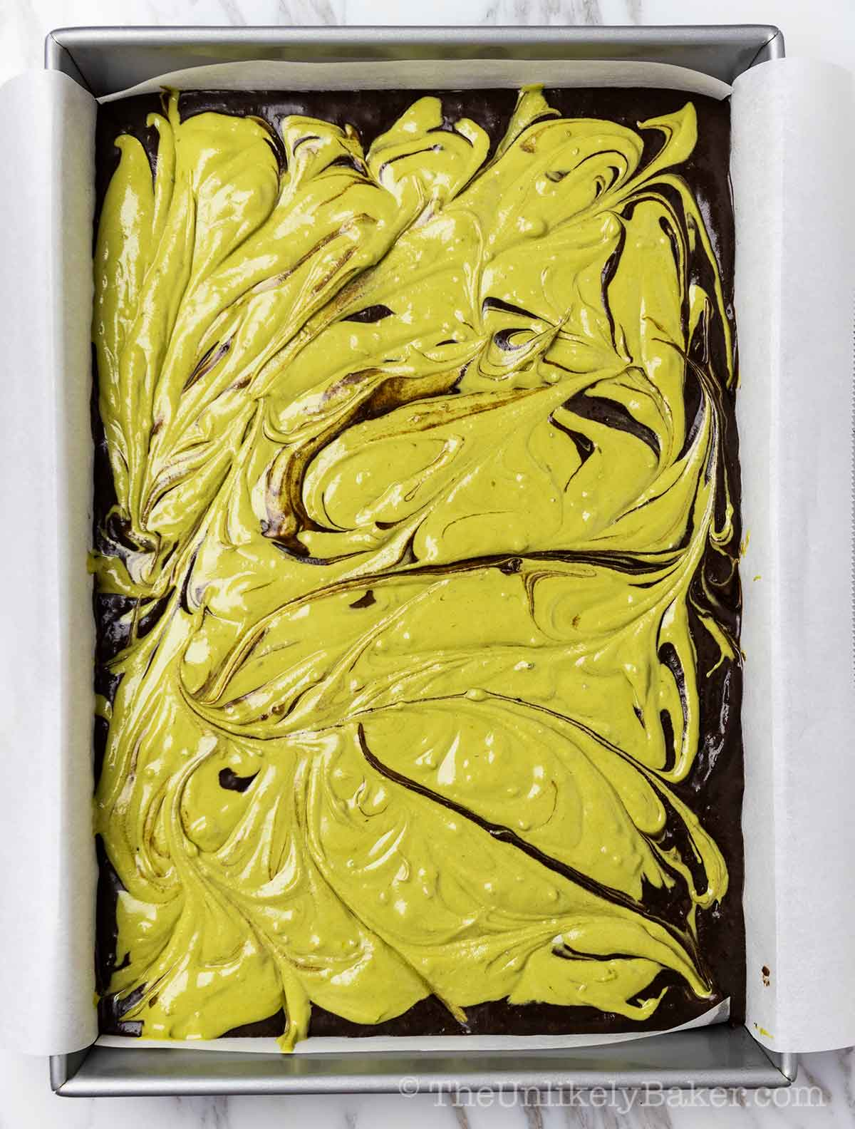 Matcha brownies ready for the oven