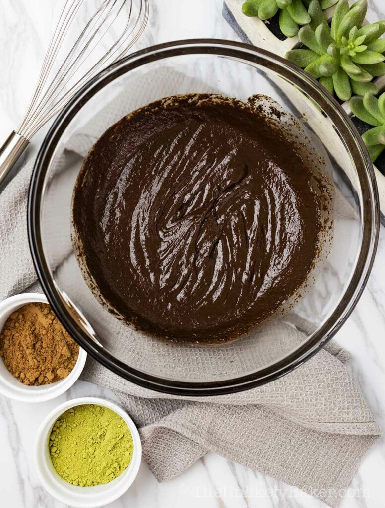 Chewy fudgy brownie batter