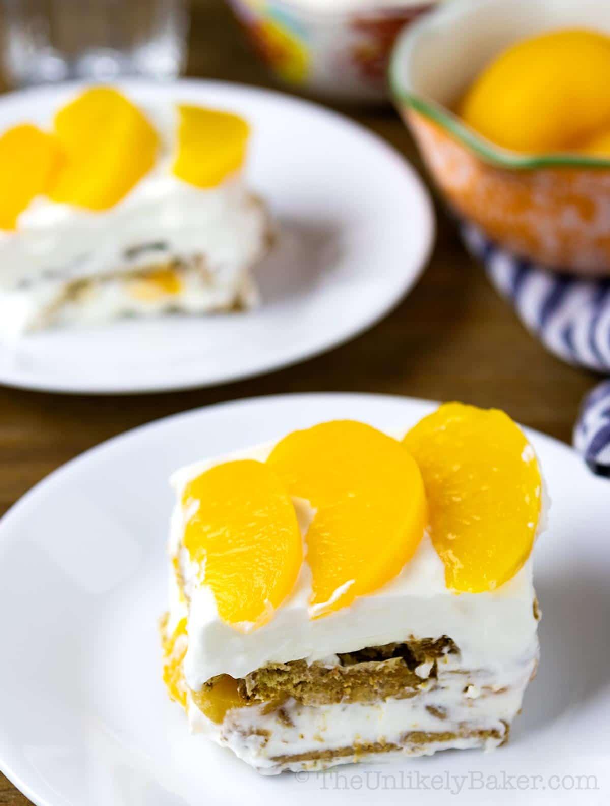 slice of peaches and cream dessert