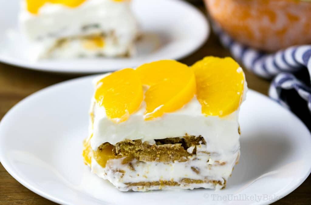 slice of peach refrigerator cake