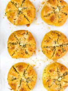 Bake the Korean garlic bread until golden brown