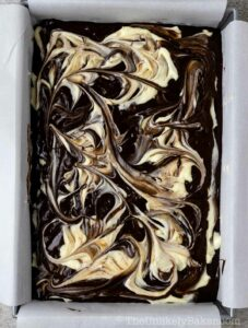 Swirl brownie batter with knife