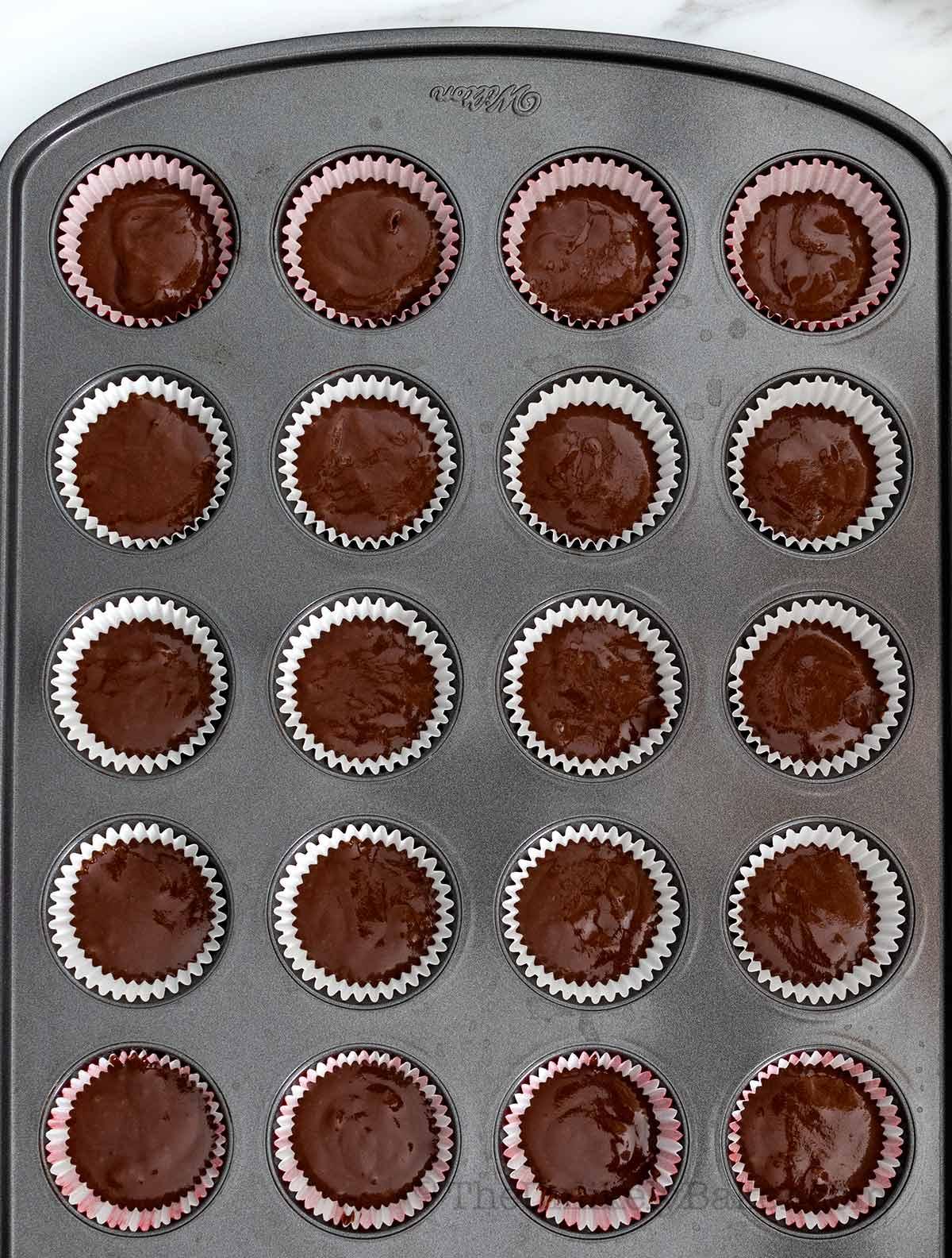 Transfer chocolate batter to pan
