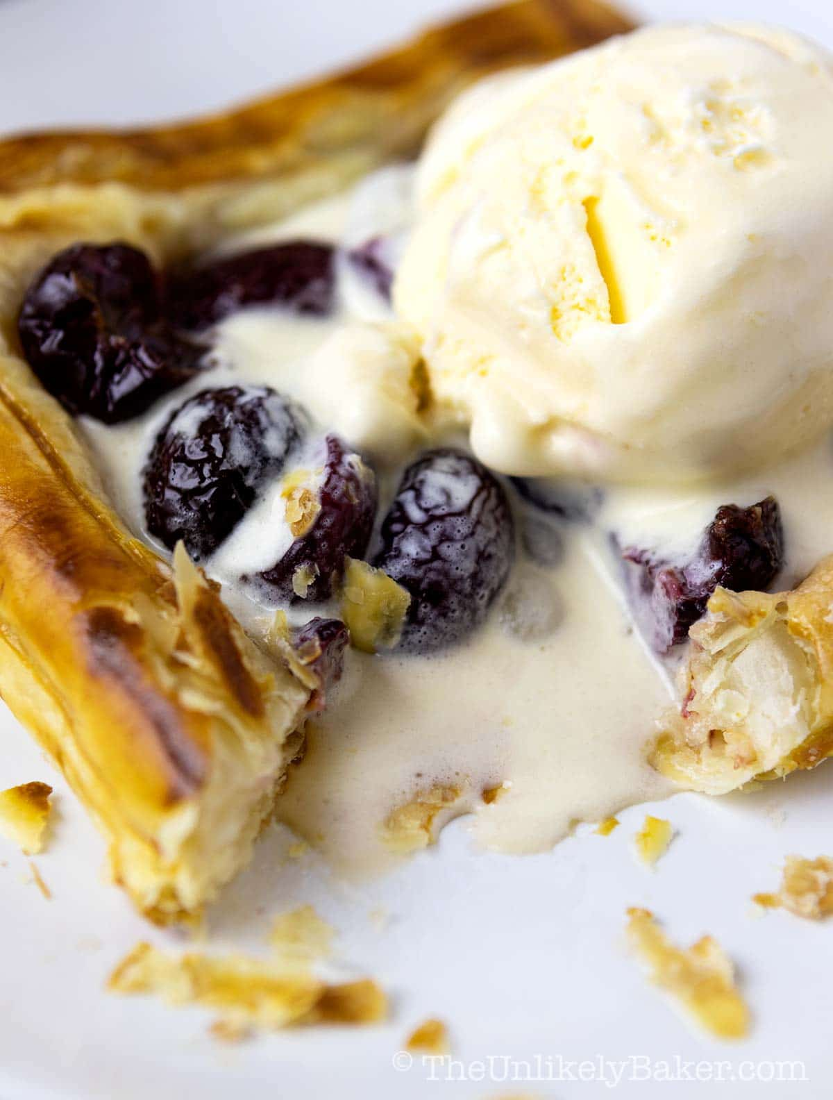 Mini Cherry Galettes Recipe with Ice Cream
