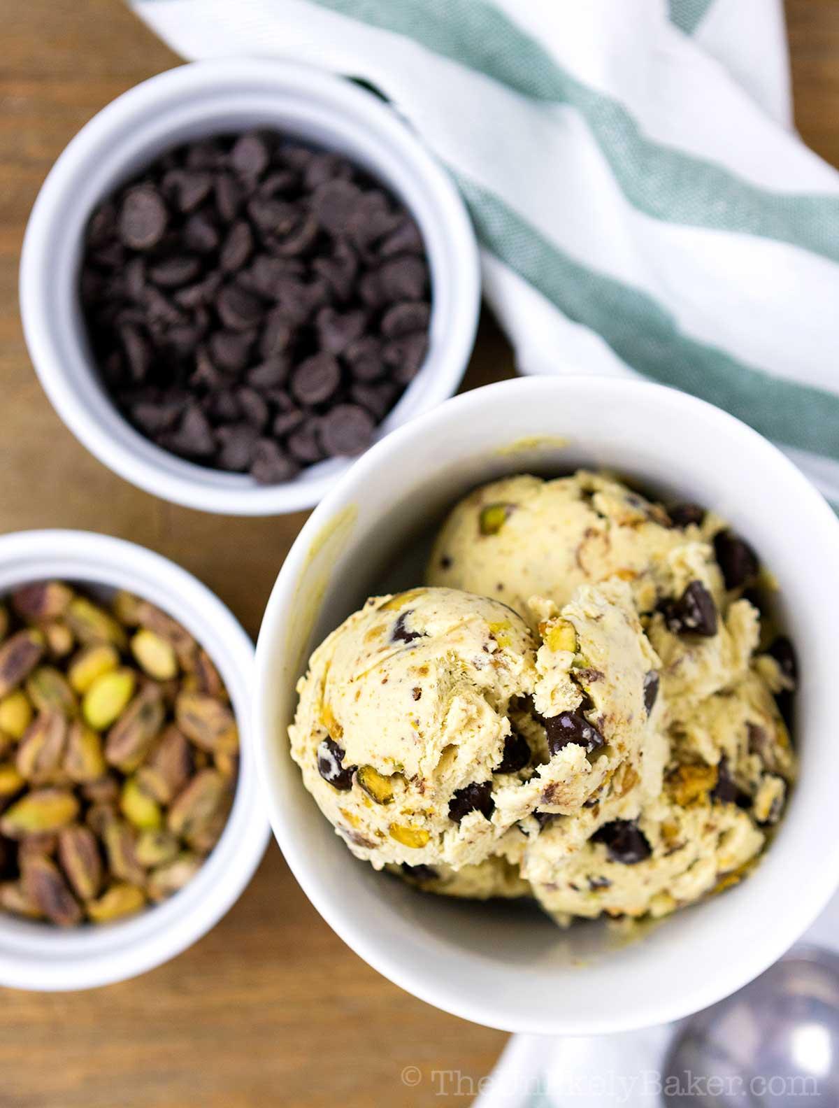 Homemade Pistachio Chocolate Chip Ice Cream