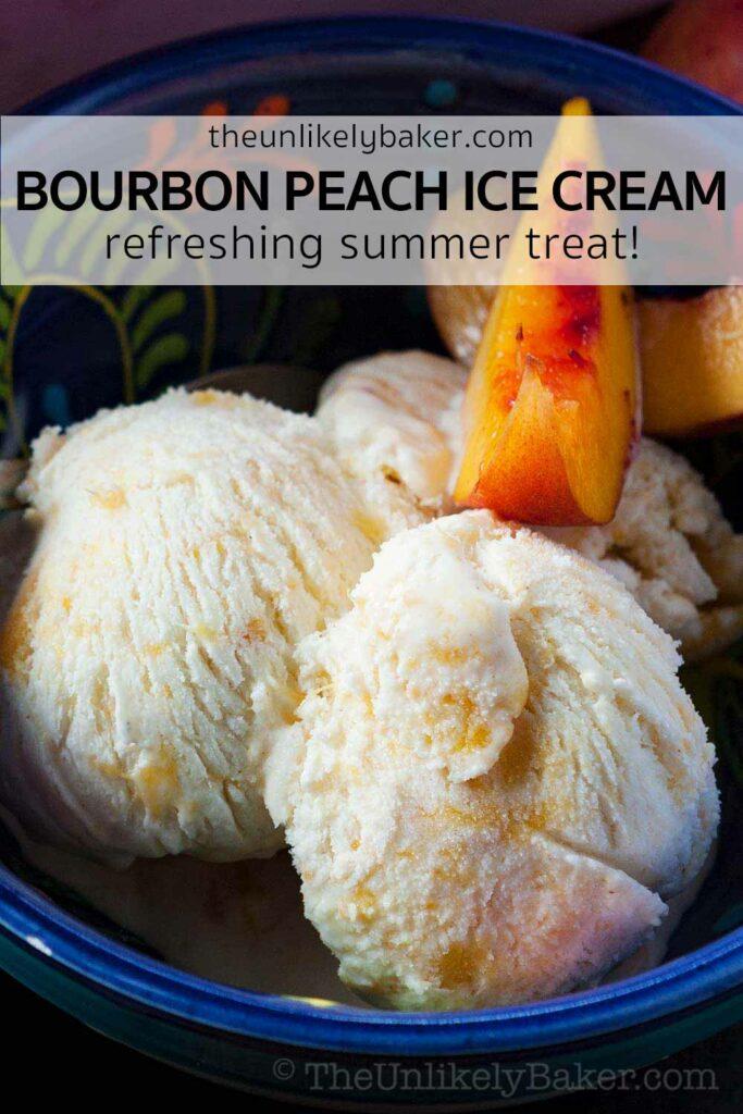 Peach Ice Cream with Bourbon and Fresh Peaches