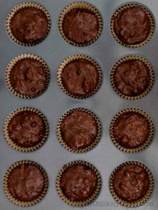 Chocolate ricotta muffin batter in pan