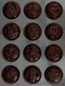 Freshly baked chocolate ricotta muffins