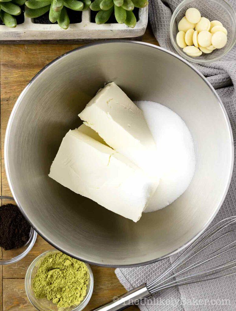 Beat cream cheese and sugar