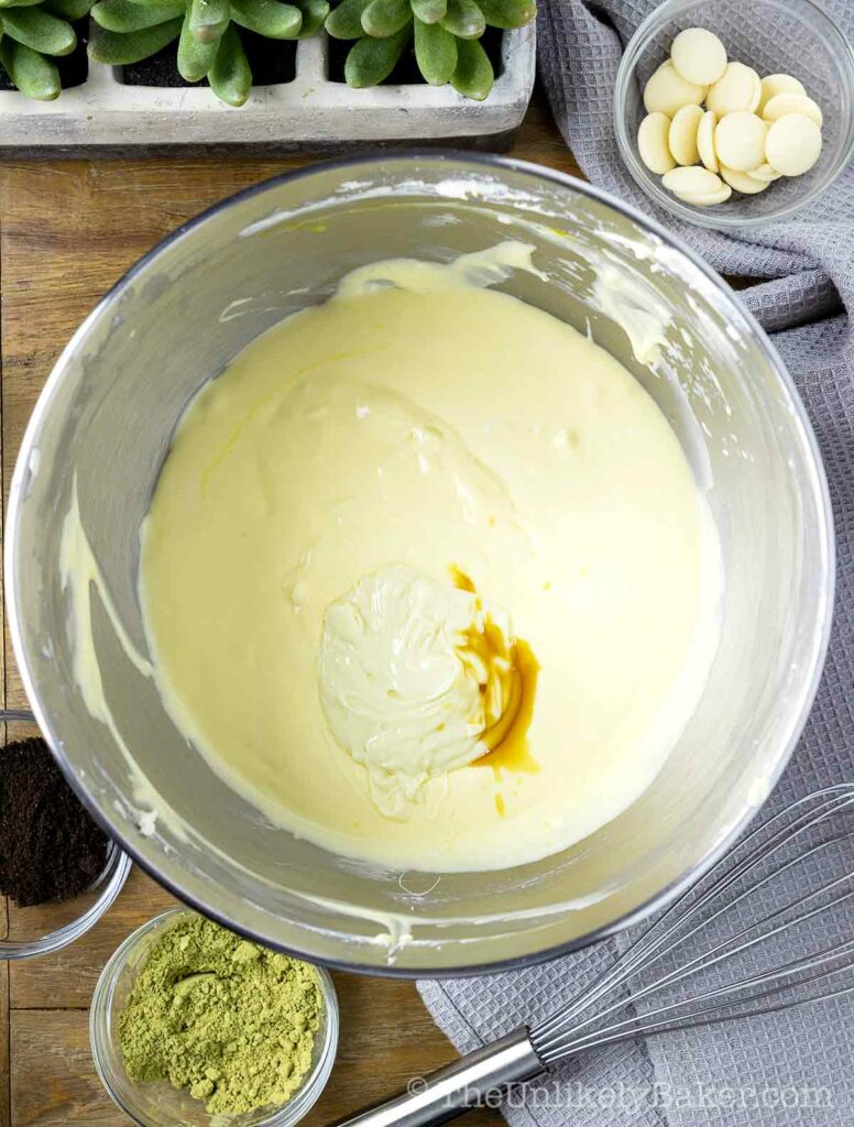 Add white chocolate and vanilla to cheesecake batter