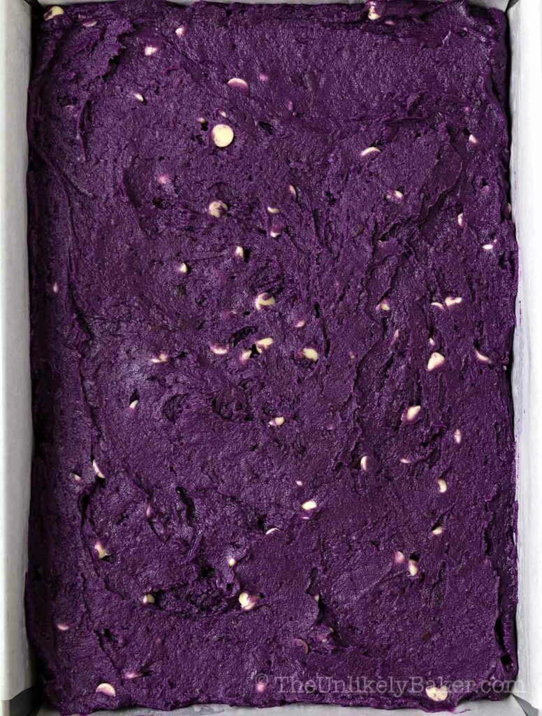 Ube brownies batter ready to go into oven