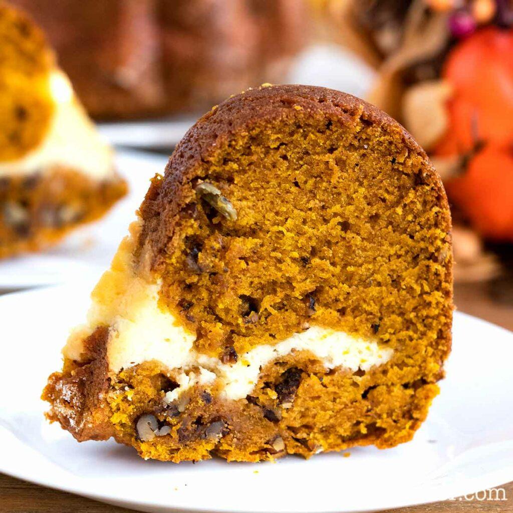 Pumpkin Bundt Cake with Cream Cheese Filling